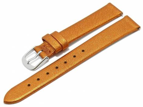 Meyhofer EASY-CLICK watch strap -Washita- 12mm orange metallic leather grained (width of buckle 10 mm) - Bild vergrößern