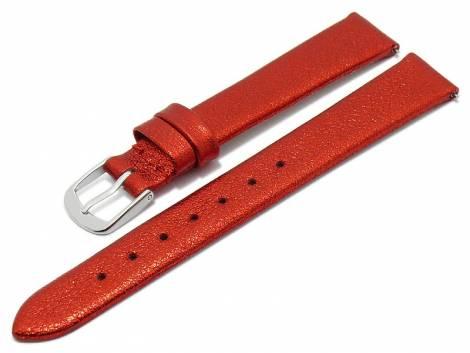 Meyhofer EASY-CLICK watch strap -Washita- 12mm red metallic leather grained (width of buckle 10 mm) - Bild vergrößern