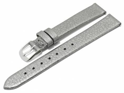 Meyhofer EASY-CLICK watch strap -Washita- 12mm silver metallic leather grained (width of buckle 10 mm) - Bild vergrößern