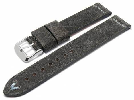 Meyhofer EASY-CLICK watch strap -Revheim- 22mm dark grey camel vintage look l. blue stitched (width of buckle 22 mm) - Bild vergrößern