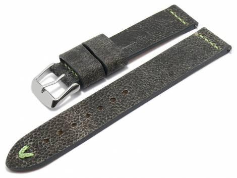Meyhofer EASY-CLICK watch strap -Revheim- 22mm dark grey camel vintage look l. green stitched (width of buckle 22 mm) - Bild vergrößern