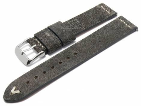 Meyhofer EASY-CLICK watch strap -Revheim- 24mm dark grey camel vintage look light stitching (width of buckle 24 mm) - Bild vergrößern