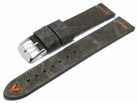 Meyhofer EASY-CLICK watch strap -Revheim- 22mm dark grey camel vintage look orange stitching (width of buckle 22 mm) - Bild vergrößern