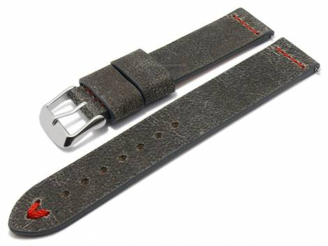 Meyhofer EASY-CLICK watch strap -Revheim- 24mm dark grey camel vintage look red stitching (width of buckle 24 mm) - Bild vergrößern