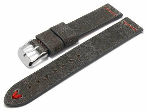 Meyhofer EASY-CLICK watch strap -Revheim- 22mm dark grey camel vintage look red stitching (width of buckle 22 mm) - Bild vergrößern