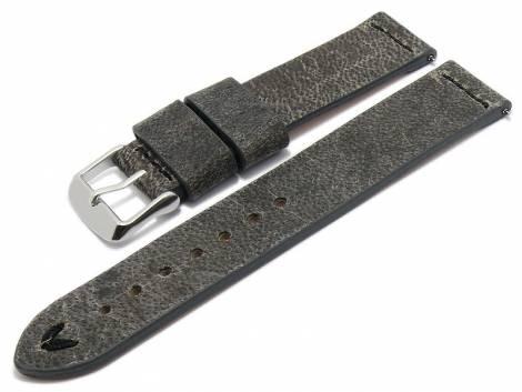 Meyhofer EASY-CLICK watch strap -Revheim- 24mm dark grey camel vintage look black stitching (width of buckle 24 mm) - Bild vergrößern