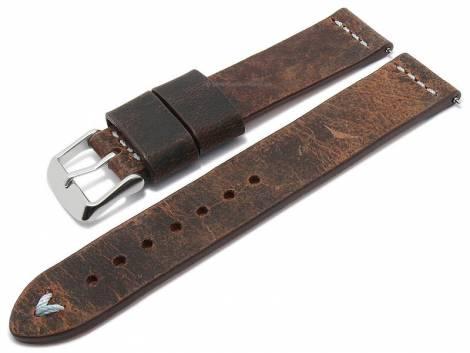 Meyhofer EASY-CLICK watch strap -Revheim- 24mm dark brown camel vintage look l. blue stitched (width of buckle 24 mm) - Bild vergrößern