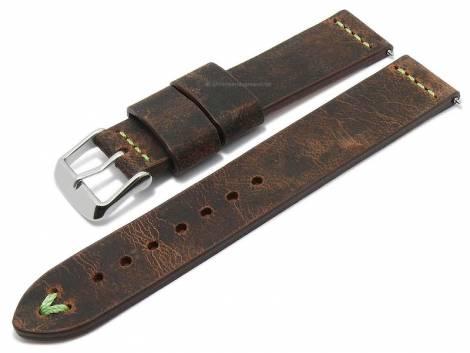 Meyhofer EASY-CLICK watch strap -Revheim- 24mm dark brown camel vintage look l. green stitched (width of buckle 24 mm) - Bild vergrößern