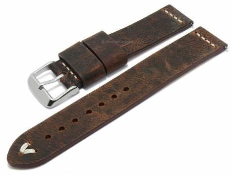 Meyhofer EASY-CLICK watch strap -Revheim- 24mm dark brown camel vintage look light stitching (width of buckle 24 mm) - Bild vergrößern