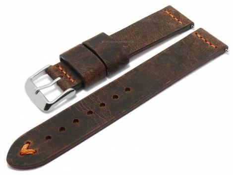 Meyhofer EASY-CLICK watch strap -Revheim- 22mm dark brown camel vintage look orange stitching (width of buckle 22 mm) - Bild vergrößern