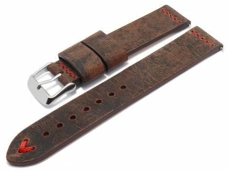 Meyhofer EASY-CLICK watch strap -Revheim- 22mm dark brown camel vintage look red stitching (width of buckle 22 mm) - Bild vergrößern