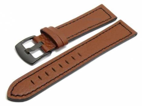 Meyhofer EASY-CLICK watch strap -Neuburg- 18mm brown leather black stitching black buckle (width of buckle 18 mm) - Bild vergrößern