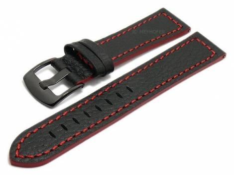 Meyhofer EASY-CLICK watch strap -Neuburg- 24mm black leather red stitching black buckle (width of buckle 22 mm) - Bild vergrößern