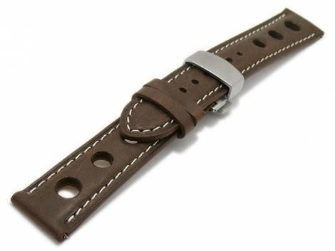 Meyhofer EASY-CLICK watch strap -Stavelot- 20mm dark brown leather racing look butterfly clasp (width of clasp 18 mm) - Bild vergrößern