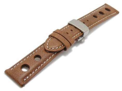 Meyhofer EASY-CLICK watch strap -Stavelot- 18mm light brown leather racing look butterfly clasp (width of clasp 16 mm) - Bild vergrößern