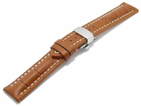 Meyhofer EASY-CLICK watch strap -Purtis- 24mm light brown leather alligator grain with clasp (width of clasp 22 mm) - Bild vergrößern