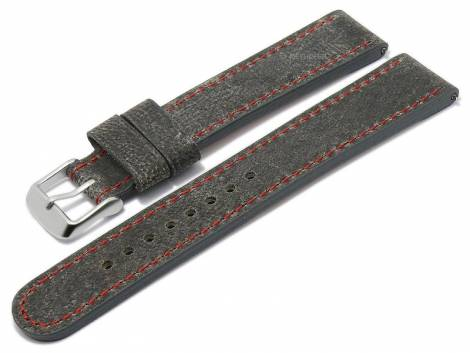 Meyhofer EASY-CLICK watch strap XL -Gobi- 22mm dark grey camel leather red stitching (width of buckle 20 mm) - Bild vergrößern