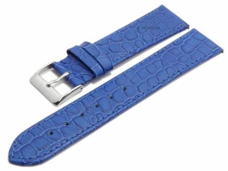 Meyhofer EASY-CLICK watch strap -Santos- 16mm blue leather croco grain stitched (width of buckle 14 mm) - Bild vergrößern