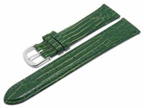 Meyhofer EASY-CLICK watch strap XL -Rosario- 20mm green leather teju grain stitched (width of buckle 20 mm) - Bild vergrößern