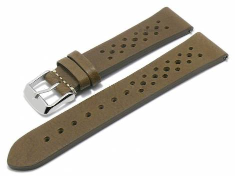 Meyhofer EASY-CLICK watch strap -Freeport- 24mm oliv brown leather racing look without stitched (width of buckle 22 mm) - Bild vergrößern