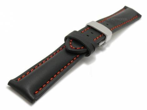 Meyhofer EASY-CLICK watch strap -Antibes- 24mm black leather with clasp red stitching (width of buckle 20 mm) - Bild vergrößern