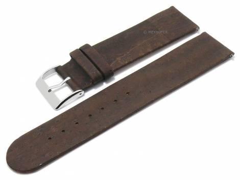 Meyhofer EASY-CLICK watch strap -Tavira- 16mm dark brown genuine cork VEGAN matt (width of buckle 16 mm) - Bild vergrößern