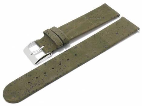 Meyhofer EASY-CLICK watch strap -Tavira- 20mm oliv green genuine cork VEGAN matt (width of buckle 20 mm) - Bild vergrößern