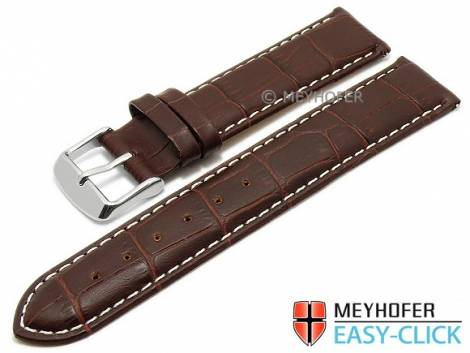 Watch band Meyhofer EASY-CLICK -Marseille- 20mm dark brown alligator grain white stitching (width of buckle 20 mm) - Bild vergrößern