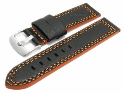 Meyhofer EASY-CLICK watch strap -Dornburg- 24mm black shrunken leather orange double stitching (width of buckle 24 mm) - Bild vergrößern