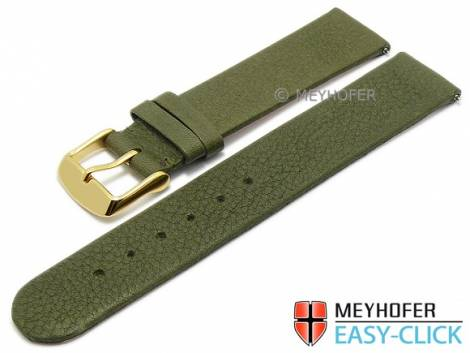 Watch strap Meyhofer EASY-CLICK -Niagara- 22mm olive leather vegetable tanned without stitching (width of buckle 22 mm) - Bild vergrößern
