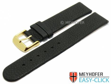 Watch strap Meyhofer EASY-CLICK -Niagara- 20mm black leather vegetable tanned without stitching (width of buckle 20 mm) - Bild vergrößern