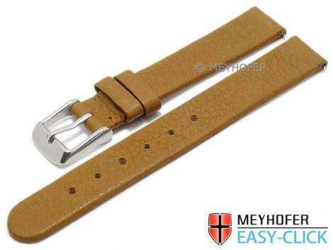 Watch strap Meyhofer EASY-CLICK -Albany- 14mm brown leather vegetable tanned without stitching (width of buckle 14 mm) - Bild vergrößern