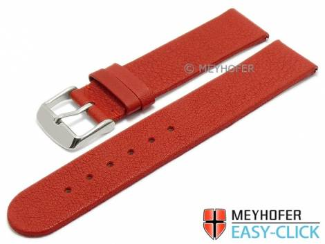Watch strap Meyhofer EASY-CLICK -Albany- 22mm red leather vegetable tanned without stitching (width of buckle 22 mm) - Bild vergrößern
