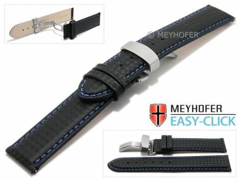 Watch strap Meyhofer EASY-CLICK -Tobin- 20mm black leather carbon look blue stitching clasp (width of clasp 20 mm) - Bild vergrößern