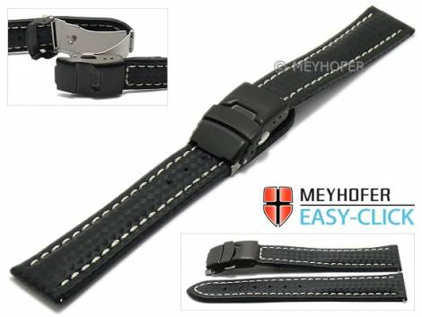 Watch strap Meyhofer EASY-CLICK -Liard- 24mm black leather carbon look light stitching clasp (width of clasp 22 mm) - Bild vergrößern