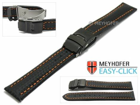 Watch strap Meyhofer EASY-CLICK -Liard- 24mm black leather carbon look orange stitching clasp (width of clasp 22 mm) - Bild vergrößern