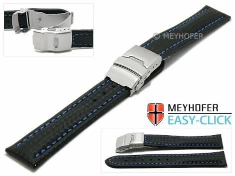 Watch strap Meyhofer EASY-CLICK -Banff- 24mm black leather carbon look blue stitching clasp (width of clasp 22 mm) - Bild vergrößern