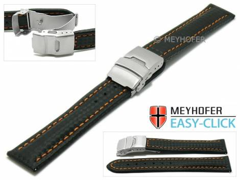 Watch strap Meyhofer EASY-CLICK -Banff- 24mm black leather carbon look orange stitching clasp (width of clasp 22 mm) - Bild vergrößern