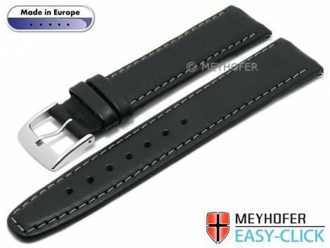 Meyhofer EASY-CLICK watch strap -Maribor Classic- 16mm black leather smooth grey stitching (width of buckle 14 mm) - Bild vergrößern