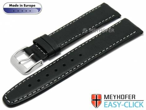 Meyhofer EASY-CLICK watch strap -Maribor- 16mm black leather smooth light stitching (width of buckle 14 mm) - Bild vergrößern