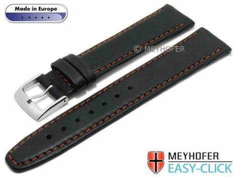 Meyhofer EASY-CLICK watch strap -Maribor Special- 16mm black leather smooth orange stitching (width of buckle 14 mm) - Bild vergrößern