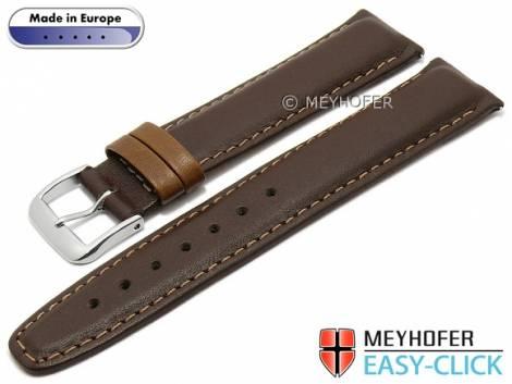 Meyhofer EASY-CLICK watch strap -Izola- 18mm dark brown leather smooth brown stitching (width of buckle 18 mm) - Bild vergrößern