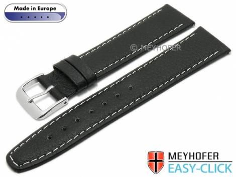 Meyhofer EASY-CLICK watch strap -Save- 16mm black synthetic leather like light stitching (width of buckle 14 mm) - Bild vergrößern
