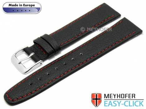 Meyhofer EASY-CLICK watch strap -Save- 22mm black synthetic leather like red stitching (width of buckle 20 mm) - Bild vergrößern