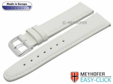Meyhofer EASY-CLICK watch strap -Save- 18mm white synthetic leather like stitched (width of buckle 16 mm) - Bild vergrößern