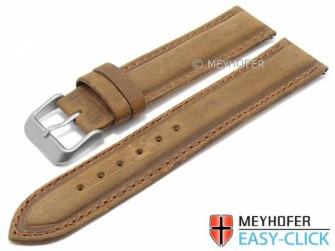 Meyhofer EASY-CLICK watch strap -Alagoas- 20mm light brown leather vintage look stitched (width of buckle 20 mm) - Bild vergrößern