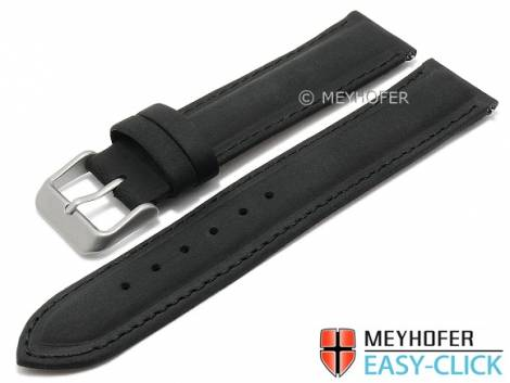 Meyhofer EASY-CLICK watch strap -Alagoas- 18mm black leather vintage look stitched (width of buckle 18 mm) - Bild vergrößern
