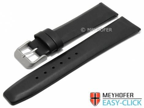 Meyhofer EASY-CLICK watch strap -Tocantis- 16mm black leather smooth matt without stitching (width of buckle 14 mm) - Bild vergrößern