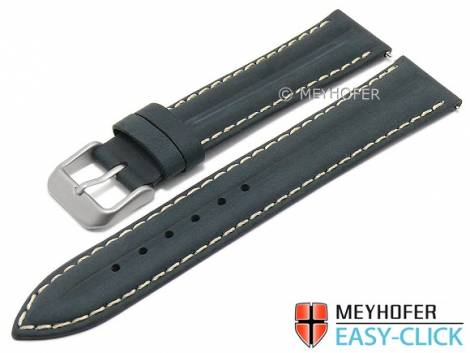 Meyhofer EASY-CLICK watch strap -Paraiba- 22mm dark blue leather vintage look light stitching (width of buckle 20 mm) - Bild vergrößern