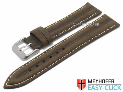 Meyhofer EASY-CLICK watch strap -Paraiba- 18mm dark brown leather vintage look light stitching (width of buckle 16 mm) - Bild vergrößern